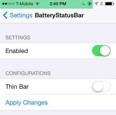 BatteryStatusBar - удобный индикатор заряда батареи