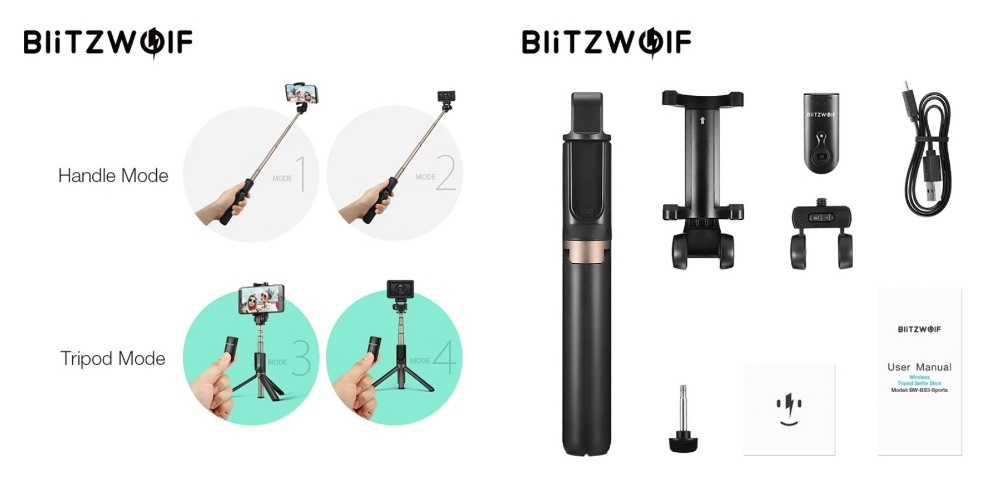 4. BlitzWolf - монопод-штатив 4 в 1