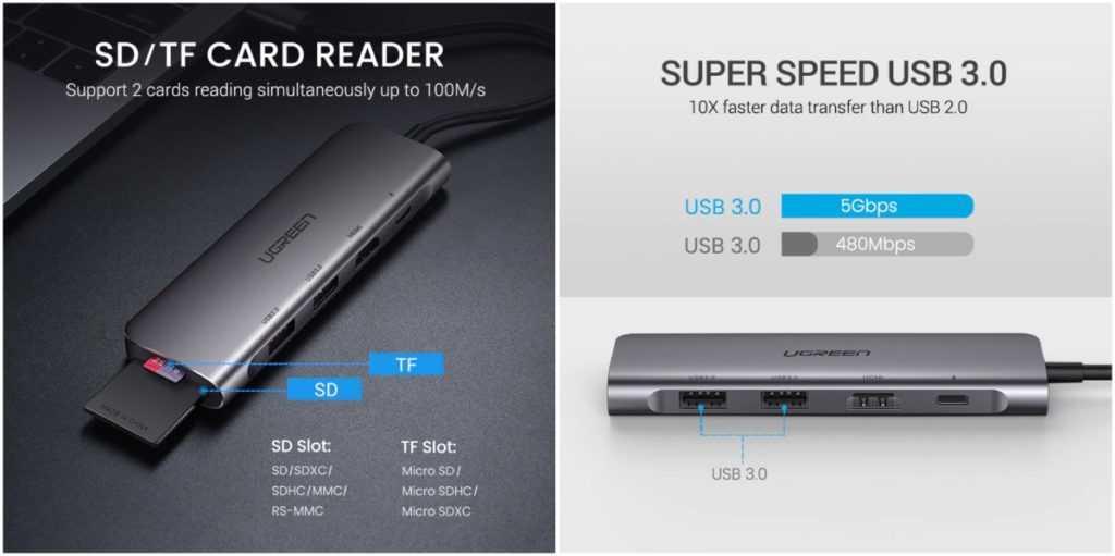 Тонкий алюминиевый адаптер USB Type-С - Ugreen