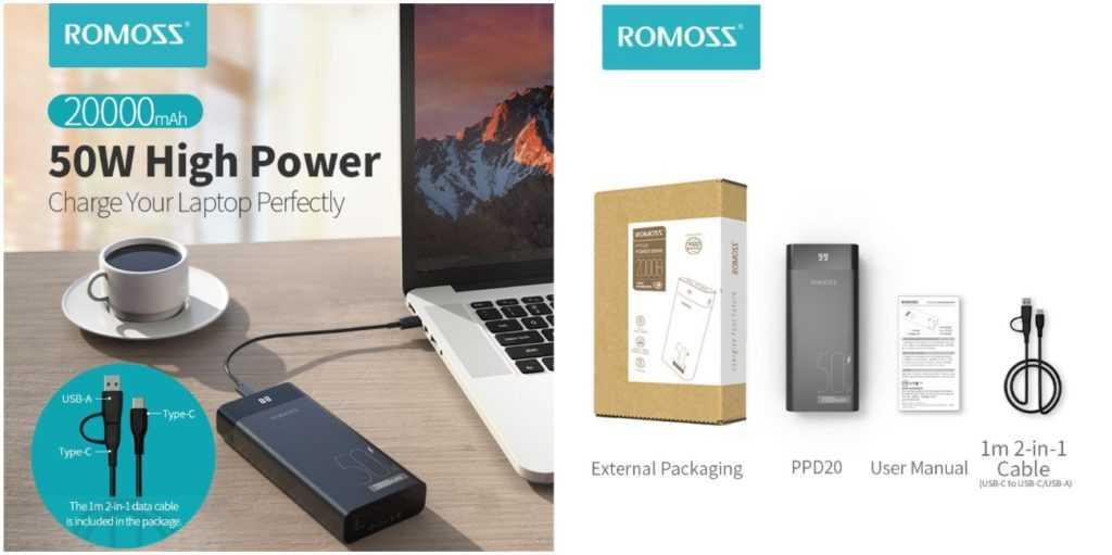 Внешний аккумулятор ROMOSS PPD20 20000 мАч